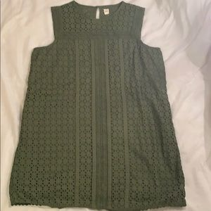 Gap Sleeveless Short Eyelet Green Dress Size Large
